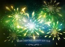 Abstract background with lettering. Abstract background with sparks lights and Merry Christmas and happy new year and Fireworks Stock Photo