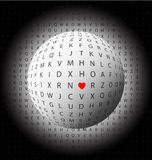 Abstract background with letters and heart Stock Image