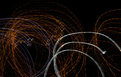 Abstract background of light bulbs at night in motion Royalty Free Stock Images