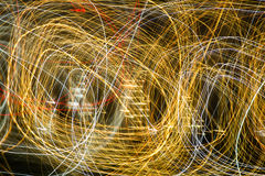 Abstract background of light bulbs at night in motion Royalty Free Stock Photo