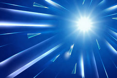 Abstract background : Light explosion with rectangle and triangl. E crystal style move to center light,Technology concept Royalty Free Stock Image