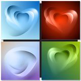 Abstract background with light lines and shadows. Heart shaped Stock Photos