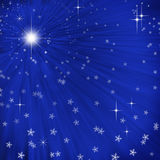 Abstract background with light rays. Abstract blue background with light rays and snowfall Stock Illustration