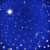 Abstract background with light rays. Abstract blue background with light rays, stars and baubles Vector Illustration
