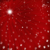 Abstract background with light rays. Abstract red background with light rays stars and baubles Stock Illustration