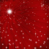 Abstract background with light rays and snow. Abstract red background with light rays, stars and snowfall Royalty Free Illustration