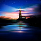 Abstract background with lighthouse. Abstract blue background with lighthouse mountains and sunrise royalty free illustration