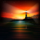 Abstract background with lighthouse. Mountains and sunrise vector illustration