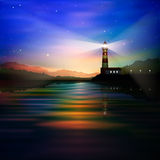 Abstract background with lighthouse. Mountains and sunset vector illustration