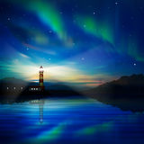 Abstract background with lighthouse. Abstract nature background with lighthouse and aurora borealis vector illustration