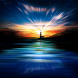 Abstract background with lighthouse. Abstract nature background with lighthouse mountains and sunrise stock illustration