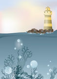 Abstract background of lighthouse on rocks and ocean Stock Images