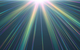 Abstract background lighting flare and black background. Rainbow shining on black background.Colorful flare light Stock Illustration