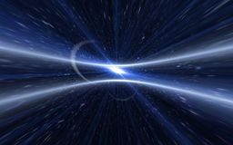 Abstract background lighting flare.Speed line and blue sun flare. With dust on space background Stock Illustration