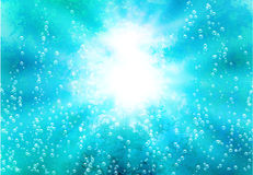 Abstract background with lights and blebs in water Royalty Free Stock Images