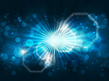 Abstract background with lights and glowing octagons shape. Design for your pc desktop or other uses stock illustration