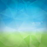 Abstract background like sky and field. Abstract vector polygonal geometric background with blue and green gradient backdrop like sky and field Royalty Free Stock Images