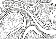 Abstract background with lines, arrow, wave and flowers. Abstract background with lines, arrow, wave and flowers in black and white colors. Vector illustration vector illustration