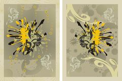 Abstract background - lions. Lions - a vector abstract decorative background, a diptych royalty free illustration