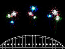 Abstract background with lots of fireworks over the bridge Royalty Free Stock Photos