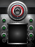 Abstract background with loudspeaker. Abstract colorful illustration with red loudspeaker, a black empty frame, cogwheels and green buttons. Party concept Stock Photo