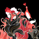 Abstract background in love with a bird. On a dark background royalty free illustration