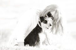 Abstract background love between woman & pet puppy dog stock image