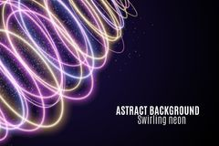 Abstract background of luminous colorful neon waves. Wallpapers for your design. Magic flying dust. Chaotic light circles. Twisted. Lines, neon tracks. Vector royalty free illustration