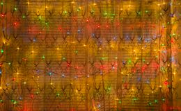 Abstract background of luminous garlands in the New Yeas. Abstract background of luminous garlands in the New Year`s store window Stock Photos