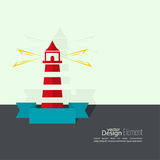 Abstract background. With luminous lighthouse. Flat design. minimal Vector Illustration