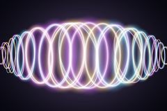 Abstract background of luminous multicolored neon waves. Music Equalizer. Wallpapers for your design. Chaotic light circles. Vecto. R illustration. EPS 10 stock illustration