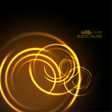 Abstract background with luminous swirling. Backdrop.  Intersection curves. Glowing spiral. The energy flow tunnel. Fire circles. Vector Royalty Free Stock Image