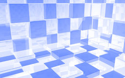 Abstract background of luminous white and blue cubes room. Abstract beautiful creative background of luminous white and blue extended and dented cubes wall, room Royalty Free Illustration