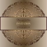 Abstract background , luxury beige and gold vintage frame, victorian banner, damask floral wallpaper ornaments, invitation card, b. Abstract background, luxury vector illustration