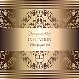 Abstract background with luxury vintage frame. Abstract background, luxury beige and gold vintage frame, victorian banner, damask floral wallpaper ornaments Royalty Free Stock Images