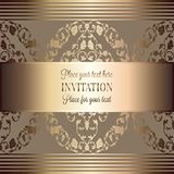 Abstract background with luxury vintage frame. Abstract background, luxury beige and gold vintage frame, victorian banner, damask floral wallpaper ornaments Royalty Free Stock Image
