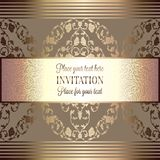Abstract background with luxury vintage frame. Abstract background, luxury beige and gold vintage frame, victorian banner, damask floral wallpaper ornaments Stock Images