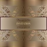 Abstract background with luxury vintage frame. Abstract background, luxury beige and gold vintage frame, victorian banner, damask floral wallpaper ornaments Royalty Free Stock Photo
