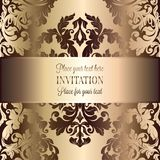 Abstract background with luxury vintage frame. Abstract background with luxury beige and gold vintage frame, victorian banner, damask floral wallpaper ornaments Stock Photos