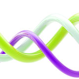 Abstract background made of bright plastic whorls. Abstract glossy background made of bright violet, green, white plastic twirls Stock Image