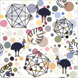 Abstract background made of circles with birds. Stock Image
