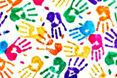 Abstract background made from colored handprints stock image