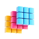 Abstract background made of cubes. Abstract cube background made of cmyk colored plates isolated on white Stock Images
