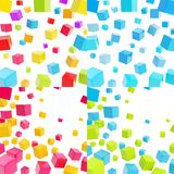 Abstract background made of cubes. Over white backdrop, set of four Royalty Free Stock Images