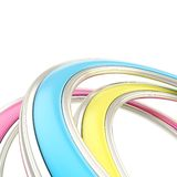 Abstract background made of curved arch. Abstract copyspace background made of cmyk colored curved arch on white Stock Photography