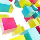 Abstract background made of glossy cubes. Abstract background made of cmyk colored glossy cubes on white Stock Photography