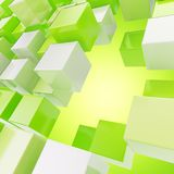 Abstract background made of glossy cubes. Abstract background made of white and green glossy cubes Stock Image