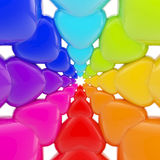 Abstract background made of glossy hearts. Abstract rainbow background made of colorful glossy hearts Stock Illustration