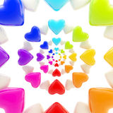 Abstract background made of glossy hearts. Abstract rainbow background made of colorful glossy hearts Vector Illustration