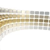 Abstract background made of glossy plates on white. Abstract copyspace backdrop made of glossy metallic chrome and golden plates arranged in circle over white Stock Image